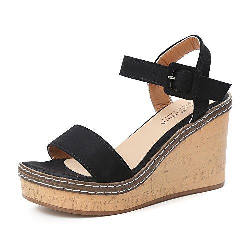 LEvifun Sandalias Sandalias Mujer Verano 2019 cuña Peep Toe de One-Button Strap sin Brillo para Mujer Sandalias Mujer Verano 2019 Plataforma Zapatos Mujer Tacon Zapatos de tacón Muje