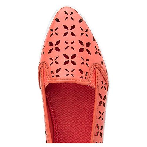 Michael Michael Kors Olive Slip On Cuir Chaussure Plate Pink Grapefruit