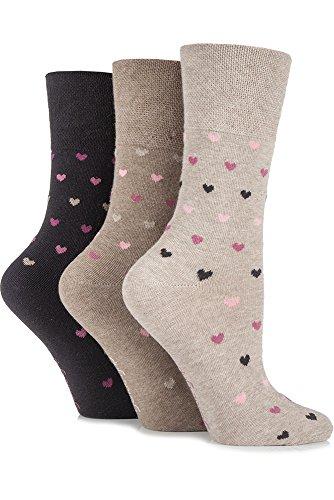Gentle Grip Ladies 3 Pair Heart Patterned Cotton Socks 4-8 Ladies Neutrals