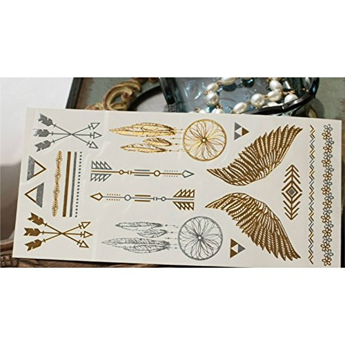 jiemite Schöne Glitter Gold and Silver Transfer Temporal Wing Arrow Pattern Tattoos Stickers 3 Sheeets