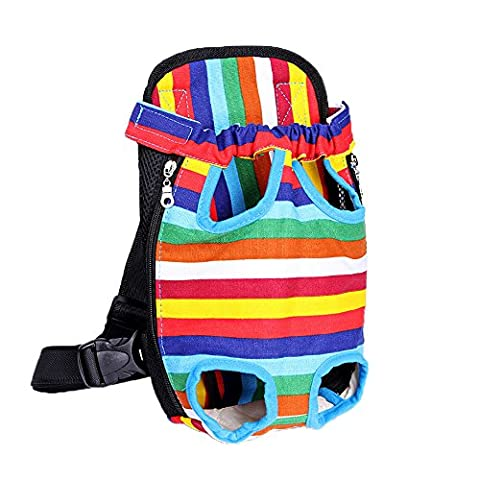 Pingxia Legs Out Front Kangaroo Pouch Pet Dog Carrier,Chest Backpack Puppy Tote Holder Bag for Walking Travel Hiking Camping(L 15*9 inch;Colorful stripe)