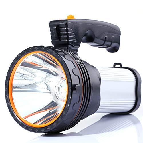 ALFLASH Led Taschenlampe Laterne 7000 Lumen USB Wiederaufladbare CREE Led Handscheinwerfer Handlampe Outdoor Wasserfest IPX4 Extrem Super hell Portable Handscheinwerfer LED-Scheinwerfer (Silber) Taschenlampe Scheinwerfer Scheinwerfer