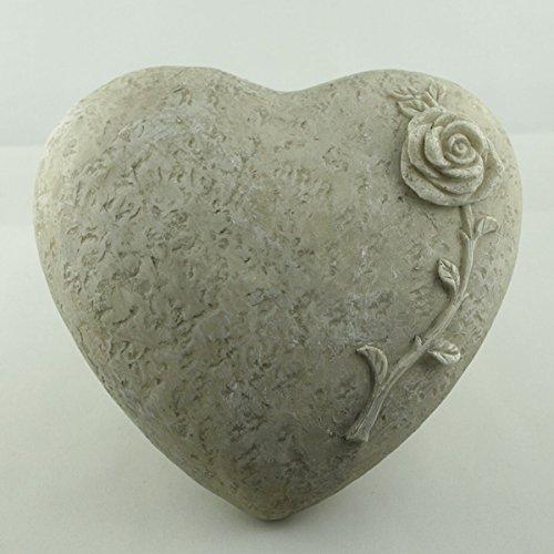 Deko Herz mit Rose zum legen, Steinoptik Polyresin. Durchmesser 18cm. 1 Stück