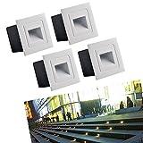 Topmo-plus Set di 4 Faretto da incasso a LED da 3W Luce spotlight Faretti Lampada da parete terreno in alluminio piazza con le lampadine Esterne interne impermeabile IP65 210LM 6 x 6 x 4,6 CM bianco