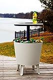 Plastic Outdoor Cool Bar Ice Cooler Table Garden Furniture - Cream Blue