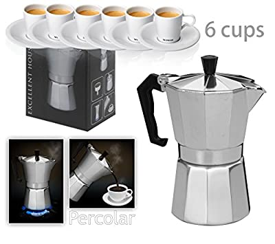 Italian Espresso Latte Cafetiere Coffee Maker 1 Cup 3 Cups 6 Cups Percolator by Innova Brands Ltd.