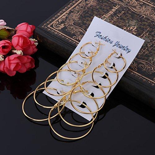 ECMQS 6 Paare/Satz Vintage Baumeln Großen Kreis Hoop Ohrringe Frauen Steampunk Ohr Clip (Gold) (Für Paare Paare)