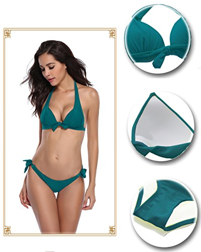 SHEKINI Damen Zweiteiler Neckholder Bikini Push up Rückenfrei Badeanzug Bademode Tankini Set Dunkelgrün