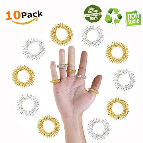 Massage Ring, Chickwin 10 Stücke Akupressur Ringe Chinesische Medizin Finger Akupressur Hand Energie Massage Ringe Medizin Metallring zur Fingermassage oder...