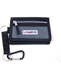 MENS BOYS TRIFOLD SPORTS WALLET WITH ZIP AND BELT CLIP BLACK BLUE GREY
