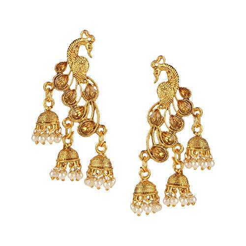 Efulgenz Indischer Schmuck Bollywood vergoldet Kristall Perle Quaste Hochzeit Jhumki Big baumeln Pfau Ohrringe Set (Gold Ohrringe Aus Indien)