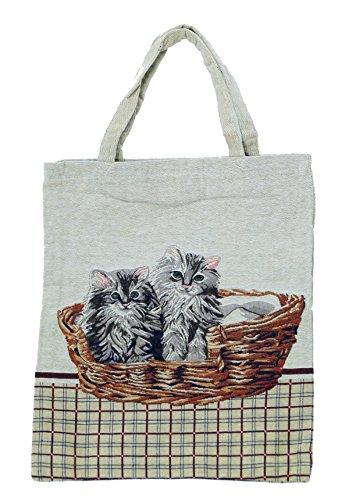 Bowatex Sac cabas sac pochette en tissu Shopper Bag poche de bistro Tapisserie royaltex Signare 2 chats dans panier FA