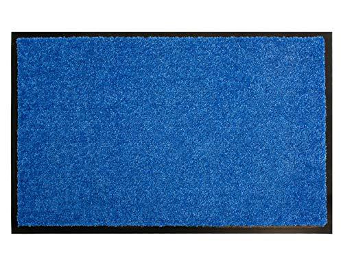 Primaflor - Ideen in Textil Schmutzfangmatte CLEAN – Blau 40cm x 60cm, Waschbare, Rutschfeste, Pflegeleichte Fußmatte, Eingangsmatte, Küchenläufer Matte, Türvorleger für Innen & Außen