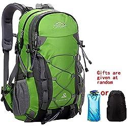 Mochila de Senderismo, 40L Impermeable Mochila de Escalada para Camping Ciclismo Deportes al Aire Libre Morral para Viajes Acampadas Verde