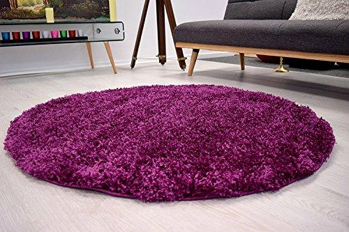 AHOC® 120cm morado redondo círculo liso moderno Shaggy alfombras a