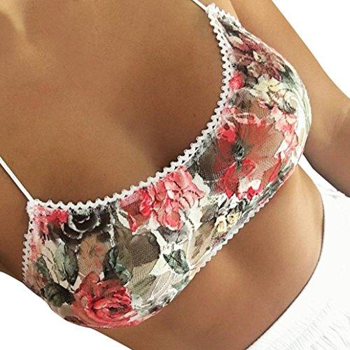 Sexy Frau Bralette Spitze Drucken Gürtel Bustier BH Weste (Mehrfarbig, S) (Cami Lace Ruffle)