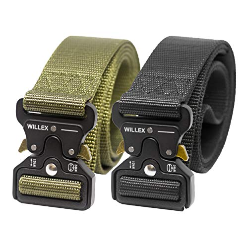 WILLEX 2er Set Unisex taktischer Gürtel mit Metallschnalle Schnellverschluss, Nylon Gürtel in Militärstyle (Armee Grün Schwarz) -