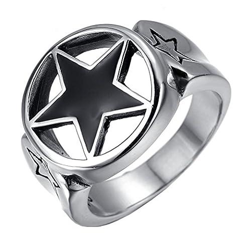 HIJONES Herren Edelstahl Schwarz Epoxy Glücklich Pentagram Star Biker Ring Größe 68
