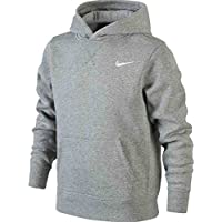 Nike Brushed-Fleece Pullover - Sudadera con capucha para niño, color gris/blanco, talla XL