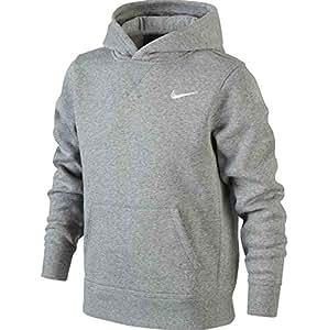 Nike Brushed Sweat-shirt à capuche Garçon ,  Gris Dk Grey Heather/Blanc-XS