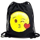 PREMYO Turnbeutel mit Emoji besonders süß. Hochwertiger Hipster Sportbeutel in Schwarz aus Baumwolle mit Emoji Aufdruck in Farbe. Festival-Rucksack, GymBag witzig ideal für unterwegs -