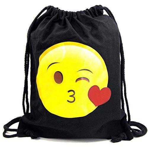 Imagen de premyo bolsa de cuerdas negra 100% algodón con emoji smiley beso corazón dulce.  con cuerdas con impresión emoticon en color de alta calidad gymsac con cordón saco de gimnasio ideal para viajar alternativa