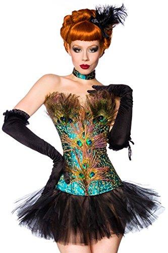 Schillerndes Karneval Fasching Kostüm-Set `Pfau` mit Federn und Strass A13724-1, Größe:38;Farbe:schwarz