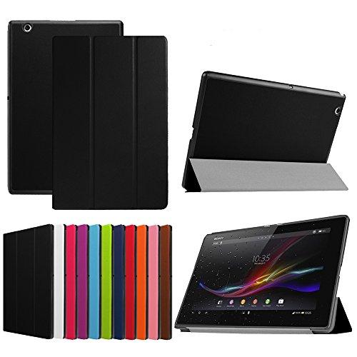 Für Sony Xperia Z4 Hülle, HZSSEC Ultra Slim PU Leder Folio Case Hülle Standfunktion Tasche Schutzhülle Etui für Sony Xperia Z4 Tablet Ultra 10.1 Zoll 2015 - Schwarz
