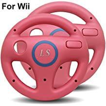 Conjunto de dos ruedas de carreras de color rosa para la consola Wii (Mario Kart ...)