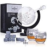 Harrison's Finest - Set decanter da 850 ml per whisky in vetro a forma di globo con tappo ermetico, con 2 bicchieri incisi in coordinato, imbuto in acciaio inossidabile e 9 pietre da whisky