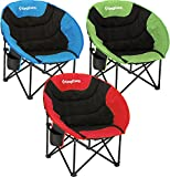 KingCamp Moon Leisure Camping Chair with/without Cup Holder Steel Frame Folding Padded Round & Portable Stable with Carry Bag for Outdoor Activities (Cup Holder, Red)