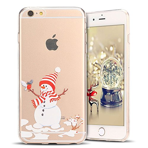 Cover iPhone 6s plus Custodia iPhone 6 plus Silicone Natale Anfire Morbido Flessibile TPU Gel Case Cover per Apple iPhone 6 plus/6s plus (5.5 Pollici) Ultra Sottile Clear Trasparente Copertura Antiurt Pupazzo di Neve