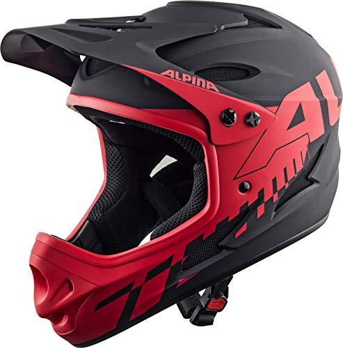 Alpina Radhelm Fullface Skihelm, Black-red, 55-56 cm