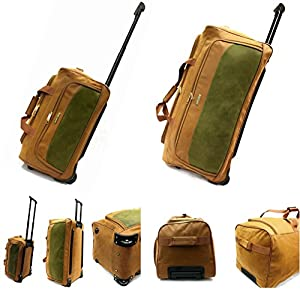 """Extra Durable Lightweight Faux Suede Leather Travel Luggage Wheeled Holdall Suitcase Duffle Bag in Small (20""""), Large (30"""")"""