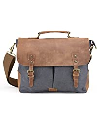 Gootium Messenger Bag Vintage Canvas Leather Messenger Bag Men s 14 inch  Laptop Shoulder Bag Briefcase 147f7ade08326