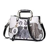 uaECB Frauen Handtasche Stil Weiblich bemalte Umh?ngetaschen Blumenmuster Messenger Bags Leder Casual Tote Abendtasche FB581-1