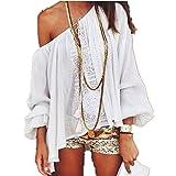 Sannysis Damen Schulterfrei Lace Crochet Chiffon Bluse (S, Weiß)