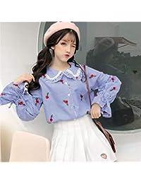 68f48cad8 QAQBDBCKL Blusa De Las Mujeres Dulce A Rayas Bordado Flor De Las Niñas  Estilo De Muy Buen Gusto Camisa Peter Pan Collar…