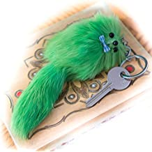 3 FOR 2! Big 20cm Designer Fur Keyring, Charm, Cute Animal, Unique Gift, Cute, Chain, Fox, Ferret, Monster Keychain (Large Yellow)