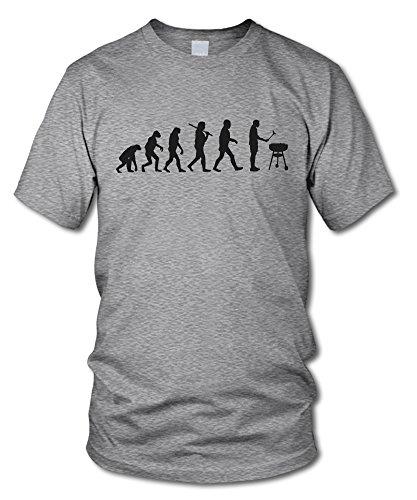 shirtloge - EVOLUTION GRILLER - KULT - Fun T-Shirt - in verschiedenen Farben - Größe S - XXL Grau-Meliert (Schwarz)