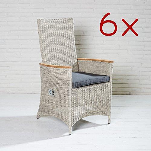 Poly Rattan Gartensessel Stühle Gartenstuhl 6 Stück Hochlehner Teak Armlehne -