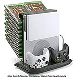 Pojazia Xbox One S Stand vertical de refroidissement Fan contrôleur Station de recharge avec Game Storage et chargeur Dualshock