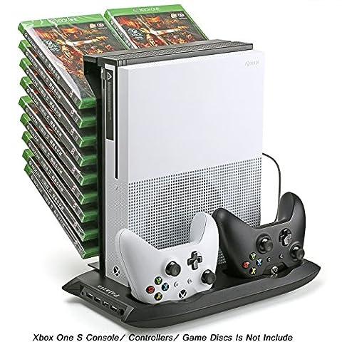 Pojazia Xbox One S Stand vertical de refroidissement Fan contrôleur Station de recharge avec Game Storage et chargeur