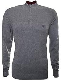 Armani Jeans Men's Grey Half Zip Jumper