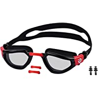 Bzain Adult Swimming Goggles For Men Women & Kids (6-14) 3-Size Nose Bridge, Pair of Ear Plugs, Adjustable Soft Silicone…