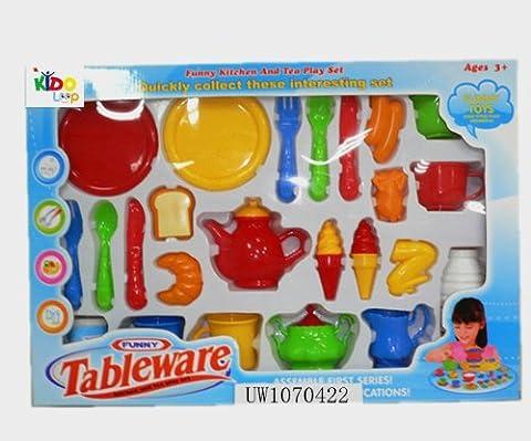 Kidoloop Kitchenware Tableware Breakfast Kitchen Playset With Food Utensils 24 in 1 Pretend & Play