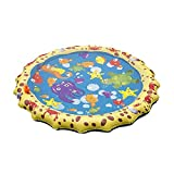 Finebuying Splash Pad, Sprinkler Play Matte, 39 Zoll Sommer Garten Wasserspielzeug Kinder Baby Pool Pad Splash Spielmatte Sprinkler und Splash Play Matte für Baby, Kinder, Hund und Haustiere (Gelb)