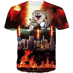 Leapparel El Gato Divertido Unisex 3D De Diseñó La Ropa L De Las Camisetas De Las Camisetas De Hip Hop De La ImpresióN