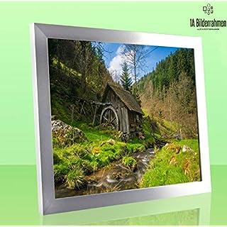 1a Bilderrahmen Monzetta 24x77 Alu gebürstet Dekor 77x24 cm mit Rückwand und klarem Acrylglas 1mm