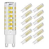 DiCUNO G9 LED Lampe 6W, Ersatz für 60W Halogen Lampen, Dimmbar, Warmweiß 3000K, 550 LM (12-er Pack)